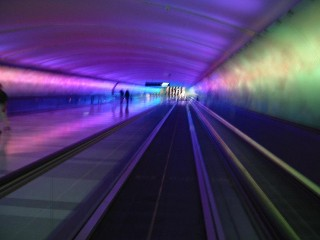 Detroit airport walkway is very neon